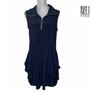 Joseph Ribkoff Navy Drapey Short Zip Dress 10